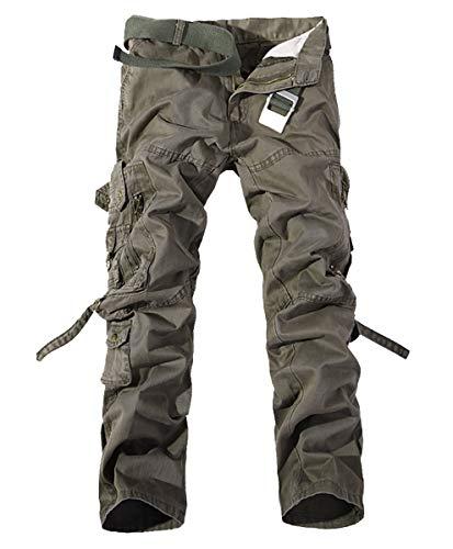 Kuson Herren Cargo Hosen Freizeithose Chino Slim Stoffhose Arbeit Baumwolle Armygrün 38 Cargo-cord-hose