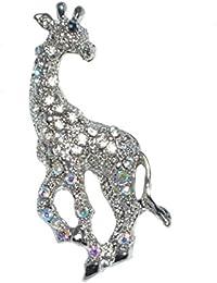 Chapado en oro blanco jirafa broche con cristales brillantes incrustados (bolsa regalo de Organza incluido).