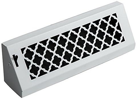 SteelCrest BTU15BBSWH Bronze Series Designer Baseboard Vent with Air-Volume Damper, White