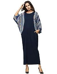 SODIAL Vestido Largo Con Estampado Almazuela De Color Contrasto manejar MurciéLago Suelto Mujer Camiseta Informal Urbano Oto?o Invierno Ropa…