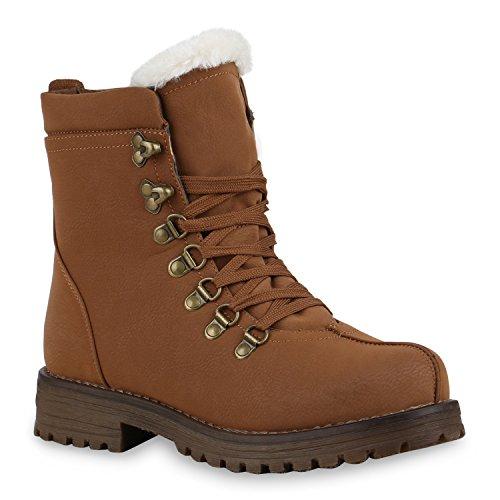 Warm Gefütterte Damen Stiefeletten Outdoor Boots Kunstfell Stiefel Hellbraun