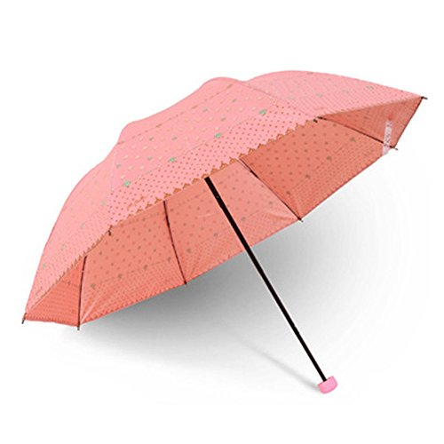 Dyewd ombrello,ombrello pieghevole per la moda, ombrellone estivo per esterno, ombrello da portare con sé, ombrellone doppio, ombrello anti raggi uv, rosa chiaro