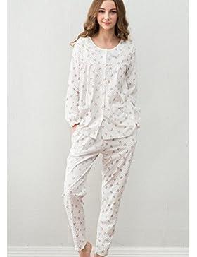 DMMSS Set di pigiama Ladies girocollo in cotone manica lunga , xl