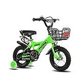 FINLR-Kinderfahrräder Jungen Mädchen Baby Kinderfahrräder Kind Tretfahrrad 4 Farben 12/14/16/18/20 Zoll Mit Stabilisatoren Und Flaschenhalter (Color : Green, Size : 12 inches)