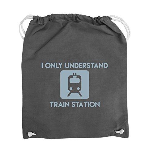 Comedy Bags - I ONLY UNDERSTAND TRAIN STATION - Turnbeutel - 37x46cm - Farbe: Schwarz / Pink Dunkelgrau / Eisblau