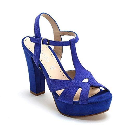 ALESYA by Scarpe&Scarpe - Sandales hautes avec T-bar, en Cuir, à Talons 12 cm Bleu