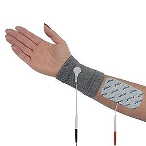 2 Textil – Elektroden für das Handgelenk + 4 (100x50mm) Elektroden, passend zu TENS – EMS Reizstrom-Geräten mit 2mm-Steck-Anschluss