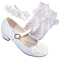 Girls Children White Low Heeled Special Occasion Shoes Socks and Hair Clip Set for Weddings, Bridesmaids