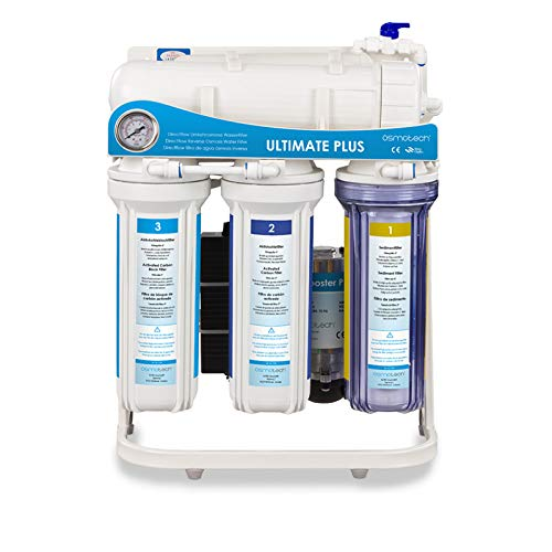 RDL Group Ultimate Plus Superflow | Umkehrosmose Wasserfilter 600 GPD Membrane und Hochleistungspumpe | Kraftpaket ohne Tank | Directflow Osmoseanlage | Bis zu 1600 ml Osmosewasser pro Minute