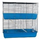 Doble 100cm grande azul interior Conejo cobaya Hutch jaula Run