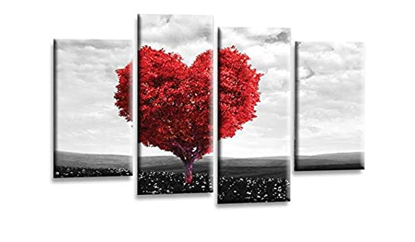 """LOVE QUOTE ART PICTURE RED POWDER GREY HOME CANVAS WALL SPLIT PANEL 44/"""""""