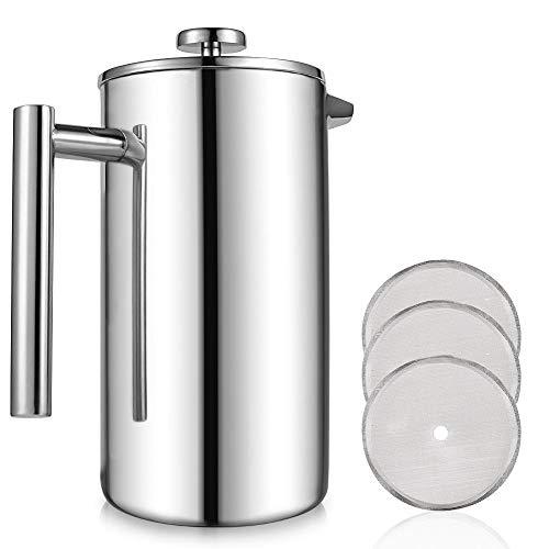 Granny´s Kitchen Edelstahl Kaffeebereiter French Press - 0,35 Liter Kanne (2 Tassen Kaffee / 8 Espresso) Doppelwandige Thermo Kaffeepresse + 3 extra Filter