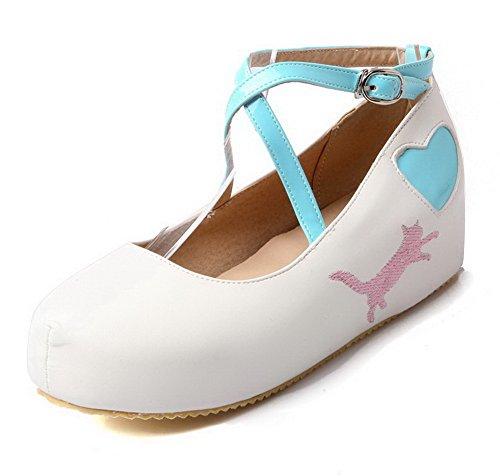 VogueZone009 Femme Pu Cuir Couleurs Mélangées Boucle Rond à Talon Correct Chaussures Légeres Blanc