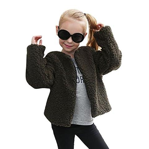 Hffan Kind Baby Mädchen Herbst Winter Faux Kaschmir Mantel Jacke Dick Warm Outwear üBergangsjacke Steppjacke Softshelljacke Leichte Daunenjacke (7 Jahre alt, Armee Grün)