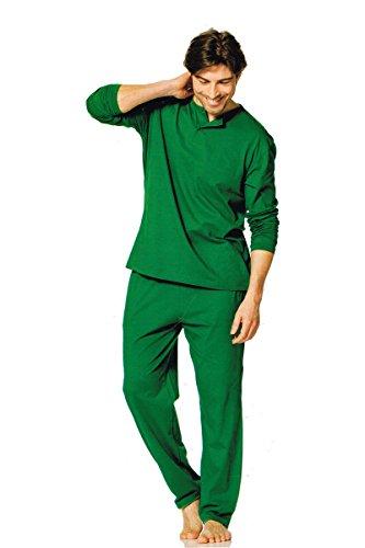 3CROWNS - Herren Pyjama - Schlafanzug - 2-Teiler - Oberteil + Hose (L, Grün) (Grüne Herren Schlaf-hose)