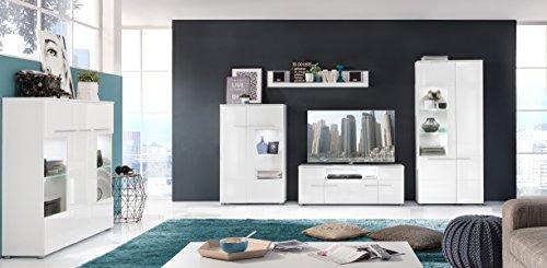 trendteam VIS97301 Wohnwand Kombination Weiß Hochglanz, BxHxT 321 x 193 x 45 cm - 5
