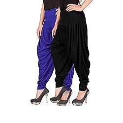 Navyataa Womens Lycra Dhoti Pants For Women Patiyala Dhoti Lycra Salwar Free Size (Pack Of 2) Blue & Black