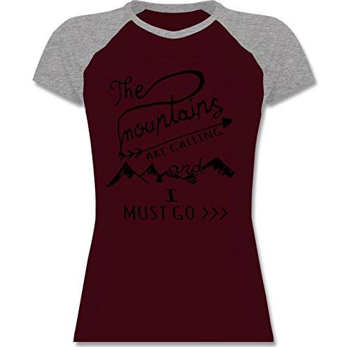 Shirtracer Wintersport - The Mountains Are Calling - Zweifarbiges Baseballshirt/Raglan T-Shirt für Damen Burgundrot/Grau meliert