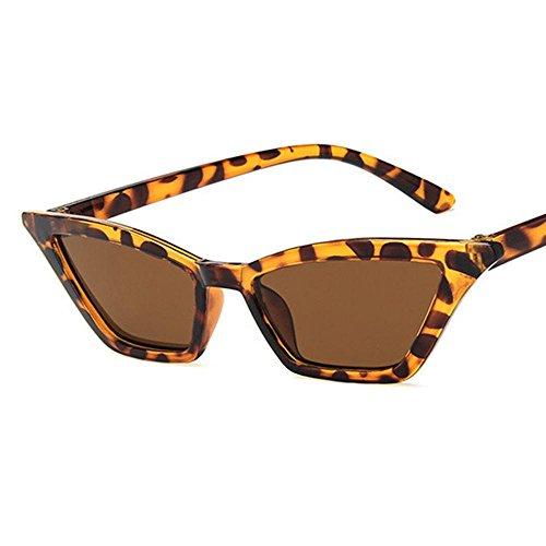 Aolvo - occhiali da sole vintage cat eye, rétro, leggeri, lenti trasparenti hd, montatura in plastica, finitura a specchio, per donne e ragazze leopard-brown