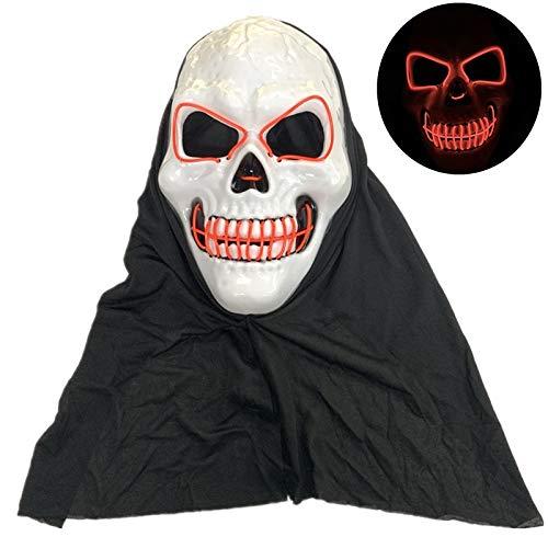 Amosfun LED Schädel Maske Glowing Skull Head Night Gruselige Maske Scary Head Cover für Maskerade Halloween Theme Party Cosplay Kostüm Dekor ohne Batterie (rot) (Masken Halloween-kostüme Ohne Scary)