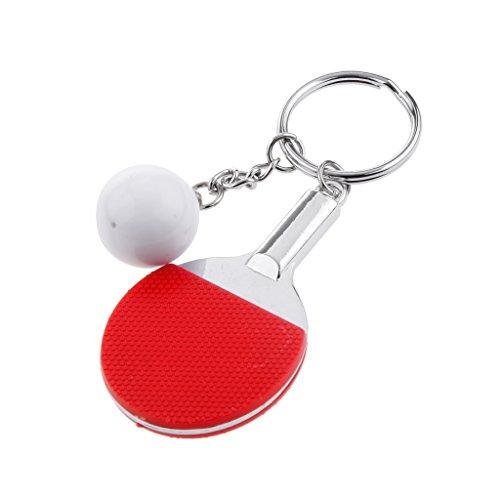 Kreative Tischtennis Ball Anhänger Schlüsselanhänger Schlüsselring Keyring - Rot, 9.5cm