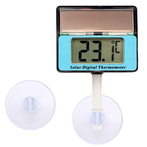 Lantelme Digital Solar Thermometer Wasserdicht mit Saugnapf Universal für Aquarium Vivarium und Terrarium einsetzbar 6809