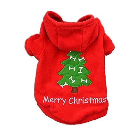 Loveso-Huastier Hunde Kleider Bekleidung Weihnachtsbaum-Haustier-Hündchen Polarfleece dicken Mantel-Kleid-Kleidung Weihnachtsmann -Kostüm Outwear (XL, Rot)