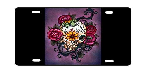 DQVWGK Schöne Blumen mit Sugar Skull Tattoos Custom Aluminium License Plate Frames für Auto License Plate Cover mit 4Löchern Auto-Tag 15,2x 30,5cm