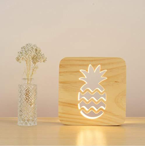 bst Ananas Handwerk Atmosphäre Licht Holzschnitzerei Hohl Nachtlicht Usb Led Baby Kinderzimmer Desktop Dekoration ()