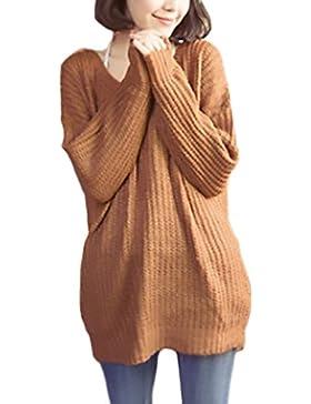 Mujer Jerséis Manga Larga Invierno Otoño Casual Anchos Jersey Sencillos Especial De Punto Elegante Termica Suave...