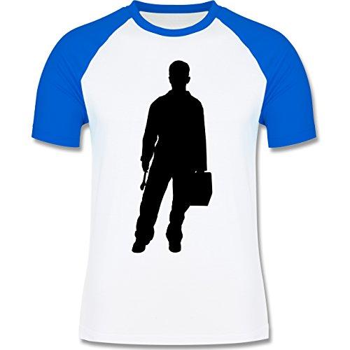 Handwerk - Installateur - zweifarbiges Baseballshirt für Männer Weiß/Royalblau