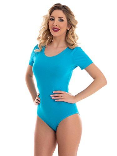 Magi Damenbody mit Kurze Ärmel und Rundhals | Overall Bodysuit in Verschiedene Farben & Größen| Unterzieh-Body optimale Passform | sportlicher Tanz-Body für Frauen (Türkis, L)