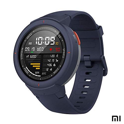 amazfit verge xiaomi sports smartwatch - orologio sportivo gps| sensore della frequenza cardiaca| ip68:resistenza all'acqua|riproduci musica | (versione internazionale) ios-android (blu)