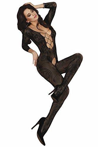 Livia-Corsetti-Livco-Body-da-estremamente-seducente-Body-Stocking-rete-con-maniche-lunghe-con-profondo-dcollet-in-una-bella-confezione-regalo