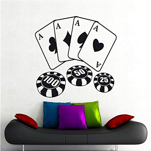 Poker Chips Karten Wandtattoo Spiel Casino Vinyl Aufkleber Kunst Dekor Wandbild