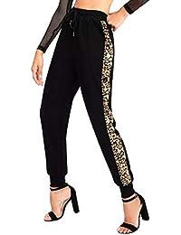 d78e4f8d6638 TOOGOO Mode Femme Cordon de Serrage Taille Elastique épissage Léopard  Sarouel Pantalons de Survêtement Dames Décontractée