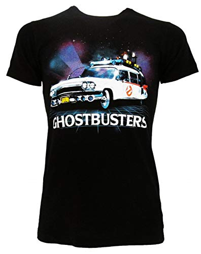 Sabor srl Camiseta Ghostbusters Ectomobile Original Negra Ecto-1 atrapasueños Producto Oficial Camiseta Camiseta Unisex Negro XL