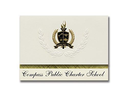 Signature-Announcements Kompass Pädagogische Schulen (Meridian, Ausweis) Schulabschluss, Präsidential-Stil, Elite-Paket mit 25 Stück mit goldfarbenen und schwarzen Metallfolien-Versiegelung - Versiegelung Creme