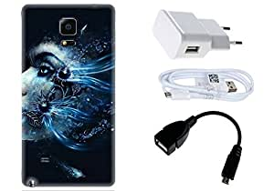 Spygen Samsung Galaxy Note 4 Case Combo of Premium Quality Designer Printed 3D Lightweight Slim Matte Finish Hard Case Back Cover + Charger Adapter + High Speed Data Cable + Premium Quality OTG