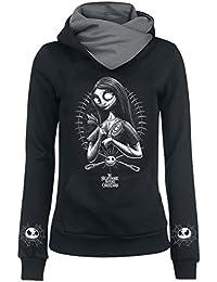 the nightmare before christmas sally needles pins girls hooded sweatshirt black grey - Nightmare Before Christmas Clothing