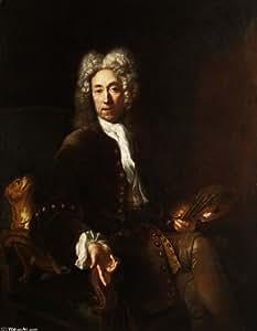 Peinture à l'huile encadrée - 12 x 16 inches / 30 x 41 CM - Antoine Pesne - Portrait de Jean-Bapt...