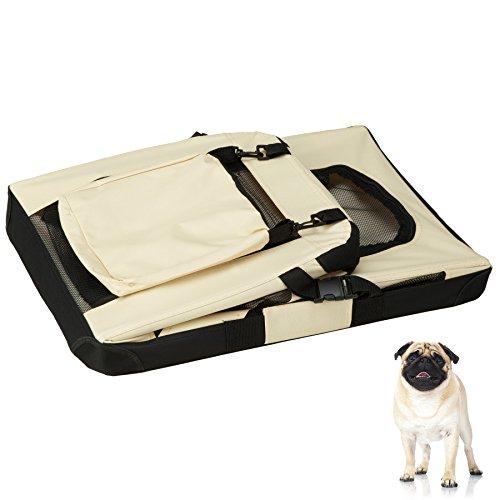 "TecTake Faltbare Hundetransportbox Transportbox beige 60x42x43cm ""M"" - 6"