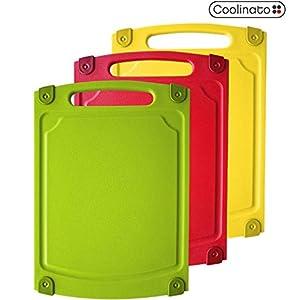 Coolinato Schneidebrett 3er Set Antibakteriell Spülmaschinenfest Saftrille & Griff, bunt, Größe M 29,2 x 20,3 x 0,78 cm