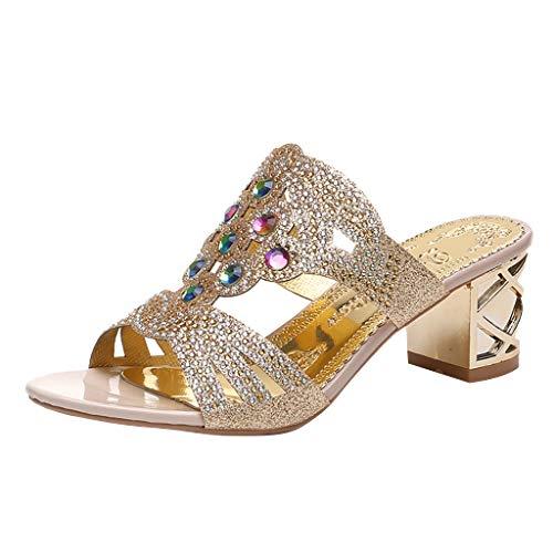 MakefortuneGlitter Diamante Sandalen für Frauen Damen, Sommer High Block Heel Rose Gold verschönert Glitter Funkelnde Juwelen Hochzeit Open Toe Sandalen Mule Größe 4 5 6 7