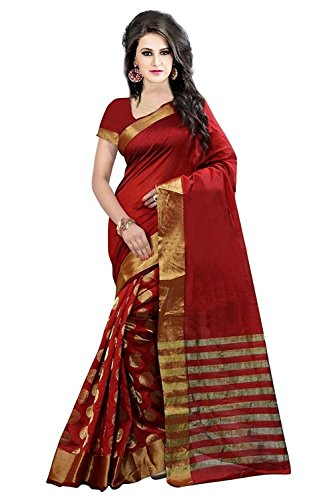 Sarees [For Women Party Wear Latest Designer Saree With Blouse Piecs Maroon Coulur Cotton Silk Sarees For Women]