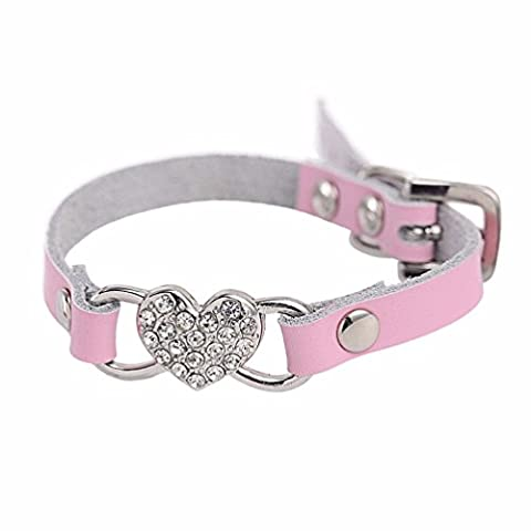 Collier chien Réglable Coeur strass Peach PU cuir Collier Pet Puppy Dog Collier (XXS-1.0cm*25cm, Rose)