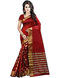 SilverStar Women's Cotton Silk Gold Woven Saree With Blouse Piece (SSS1072 [Sarees]Maroon3_Red_Free Size)