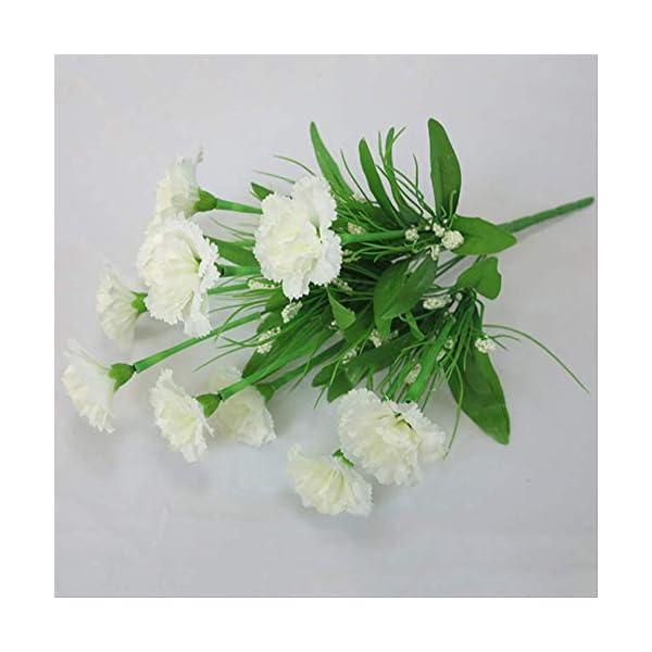 QYYDGH Retro Elegante Hermoso 10 Cabezas Flores Artificiales de Seda Claveles Gypsophila Falsas Flores Día de la Maestra…
