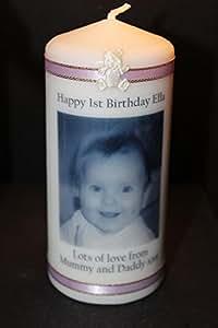 Cellini Bougie Photo personnalisée Cadeau souvenir pour cartes, idéal pour l'enfant-s, baptême ou premier anniversaire en toute occasion!