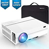TOPVISION Heimkino Beamer, 6000 Lumen Video Projektor with 80.000 Stunden Verlängert, Native 1080P LCD Beamer Full HD, 4K 300'' Heim/Berufsprojektor für Smartphone/PC/TV-Box/Laptop/PS4/PPT